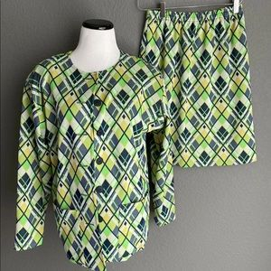 Vtg 70s Poly jacket skirt set suit geometric mod